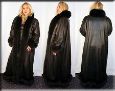 New Black Lambskin Leather Coat Fur Collar and Fur Trim Size XL, 2XL and 3XL