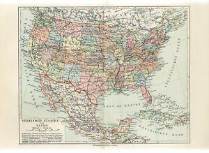 1898 USA AMERICA POLITICAL MAP Antique Map