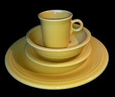 HLC Fiesta Ware 4 Piece Place Setting Sunflower Yellow Plates Bowl Mug