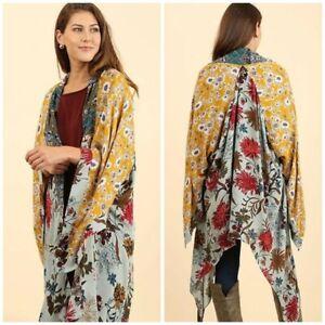 Boho Floral Patchwork Kimono Sz S/M (2/4-6/8) Womans NWT