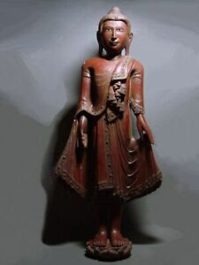 ANTIQUE BURMESE MANDALAY PERIOD STANDING BUDDHA. WOOD. MYANMAR 19th C. Ht: 90 cm
