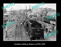 OLD 8x6 HISTORIC PHOTO OF GOULBURN NSW VIEW OF GOULBURN RAILWAY STATION c1930