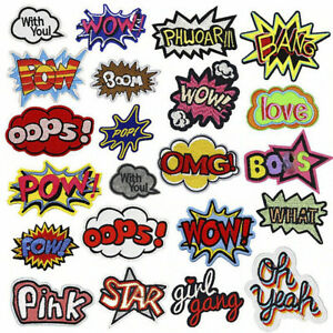 Color Letter Embroidered Cloth Patch Iron On Sew On DIY Text Badge FREE Shiping