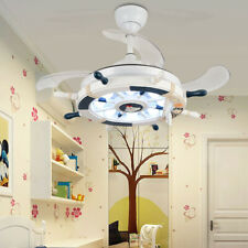 "42"" Remote Invisible LED Ceiling Fan Light Chandelier Lamp Navy style"