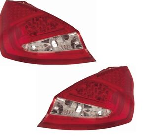 For Ford Fiesta Mk8 08- 3Dr 5Dr Clear/Red LED Back Rear Tail Lights Lamp