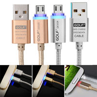 Golf Crystal LED Light Micro USB Cable Data Line Charging Charge Nylon 2.1A Gold