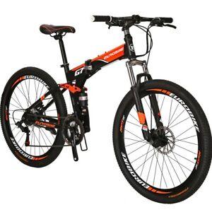 """Folding Mountain Bike Full Suspension 27.5"""" 21 Speed Disc Brake Mens Bicycle"""