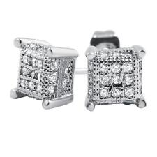 Bling Bling Earrings Iced Out Ear Jewelry Small 3D Cube Hip Hop Rhodium Cz