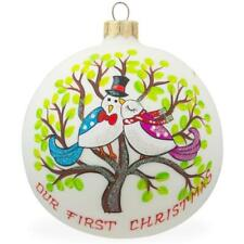 Bird Couple on Tree Glass Ball Our First Christmas Ornament 4 Inches