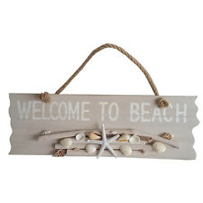 'WELCOME TO BEACH' SIGN DRIFTWOOD ROPE HANDLE, SHELLS 40CM
