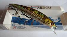 Noeby leurre pêche mer rivière 8cm 7g nage jusqu'à 0,8m jaune/verdâtre holo