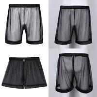 Men Lingerie See-through Mesh Loose Boxer Shorts Sport Underwear Underpants