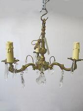Vintage French bronze & glass chandelier # 6550