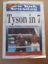MIKE TYSON BEATS RAZOR RUDDOCK NEW YORK NEWSDAY NEWSPAPER 3/19 1991