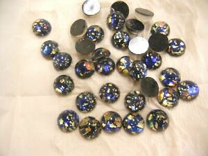 full package,36 vintage glass czech made 13mm round BLACK FOILED CABOCHONS