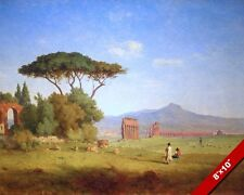 ROMAN AQUEDUCT & COUNTRYSIDE CAMPAGNA PAINTING ROME ITALY ART REAL CANVAS PRINT