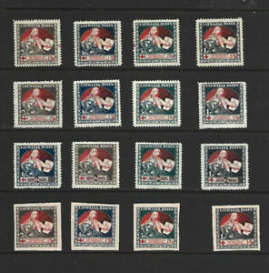 LATVIA 1920 RED CROSS STAMPS - FOUR COMPLETE SETS.