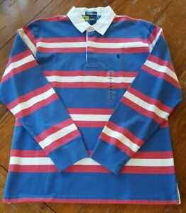 NWOT New Boy's XL 20 Polo Ralph Lauren Blue Pink And White Striped Rugby Shirt