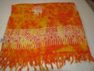The American Sarong Co wrap beach cover up orange yellow angle fish EUC