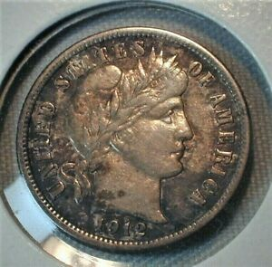 1912 USA Barber Silver Dime in XF+ Condition Toned  (194)
