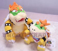 "Super Mario Stuffed Plush Doll - 10"" Standing Bowser Koopa King & 7"" Jr. Koopa"