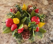 Vintage Plastic Christmas Pillar Candle Ring Fruits Nuts Pinecones