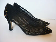 Vtg 1980s Black Shoes J. Renee Sz 6 Suede & Net w Studs Edgy Goth Romantic Heels