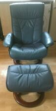 EKORNES Stressless Chair and Footstool, Blue Leather, Swivel, Recliner Armchair