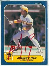 1986 FLEER (BB) Johnny Ray ON-CARD AUTO/AUTOGRAPH/SIGNATURE PIRATES / RED INK