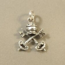 .925 Sterling Silver VATICAN Coat Arms CHARM NEW Keys Rome Italy Pope 925 FA61
