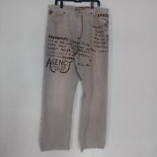 Akademiks Retro Mens Graphic Denim Colored Jeans Pants Size 38 Beige Brown