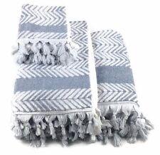 Enchante Home Towel Set Six Piece Jacquard White Navy 100% Turkish Cotton