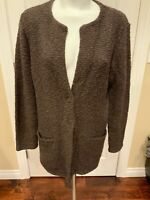 Eileen Fisher Brown Boucle Knit Cardigan Sweater Size Large