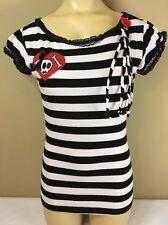 JESSICA LOUISE Women's Black & White Striped Cotton Skull Shirt ~ Sz S (juniors)
