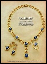 1982 Black Starr & Frost Jewelry Sapphire Necklace Earrings Ring VINTAGE AD