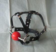 Genuine Leather LOCKING PONY PLAY 48mm RED BALL GAG HEAD HARNESS bit ballgag #1