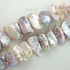 """14"""" Pink Mauve White Multi Freshwater Biwa Stick Beads ap. 10-18mm #17145"""