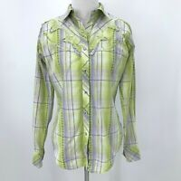 Ariat Western Shirt Women's Size S Snap Button Up Long Sleeve Plaid Embroidered