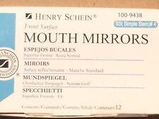 Dental Henry Schein  Mouth Mirror front surface simple stem #4  12/Box Miltex