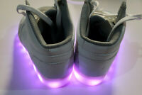 New Skechers Kids Light Up Shoes White Charge with USB Plug Youth Color Lights