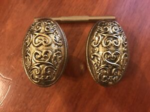 Victorian Style Scroll Design Oval Knobs - Pair
