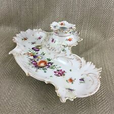 Dresden Porcelain Inkwell Antique Ink Hand Painted Floral Antique Victorian Old