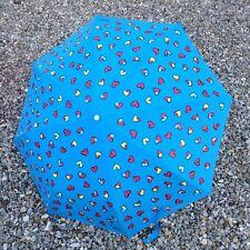 BNWTs Boutique MOSCHINO BLUE multi hearts umbrella, sun protection UV 99%