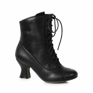 Black Lace Up Victorian Ankle Steampunk Halloween Costume Granny Boots Womans