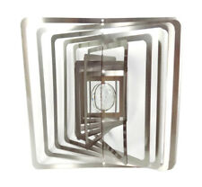 WorldaWhirl 3D Wind Spinner Crystal Ball Silver Square Whirligig Garden Twister