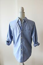 Abercrombie & Fitch Mens Muscle Button Down Light Blue Long Sleeve Shirt Size S