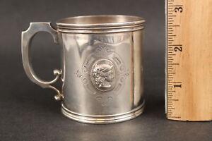 Antique 19thC American Coin Silver Cup Mug Classic Victorian Medallion Head NR