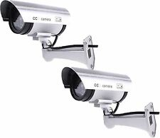 2 X High Quality Outdoor Dummy Security Camera Fake LED Flashing CCTV