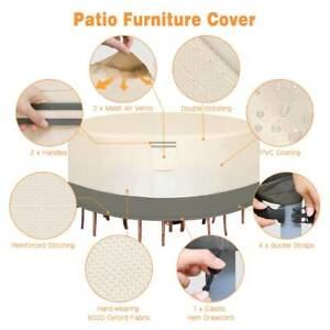 """70"""" Waterproof Round Patio Set Cover Large Outdoor Table Chair Furniture Cover"""