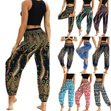 Womens Casual Summer Loose Yoga Trousers Baggy Boho Aladdin Jumpsuit Harem Pants